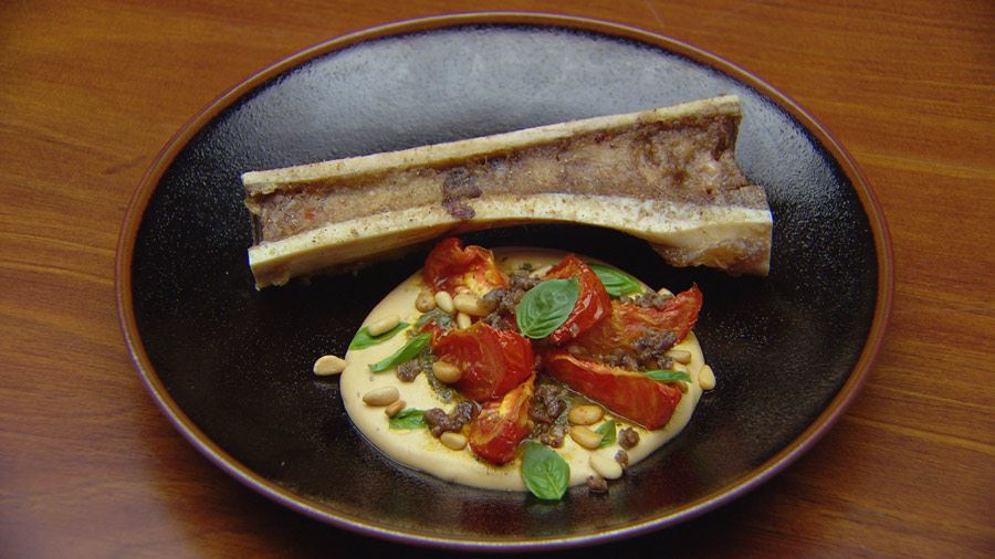 Roasted Bone Marrow with Pine Nut Pudding